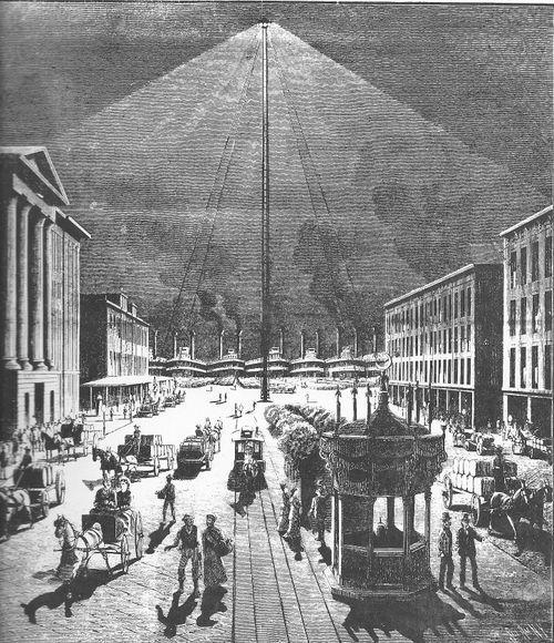 """维多利亚时期的一盏碳弧""""月光""""(Moonlight)灯"""