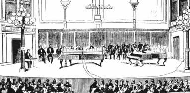 """1874年12月29日,格雷在伊利诺伊斯州海蓝帕克市(Highland Park)的长老教堂(Presbyterian Church)第一次对公众展示了他的发明——电传音乐(transmitting musical tones)。根据一家报纸的报道,他""""通过电报线""""传输了""""耳熟能详的旋律""""——看起来,他很可能使用钢琴作为共鸣放大器。"""