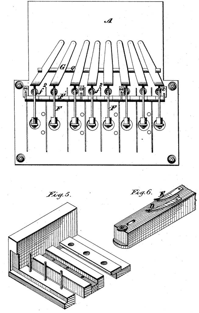 """格雷1876年的""""电谐声电报机""""专利中展示了金属齿(tine)和止音器装置,该装置可避免其他琴键的共振"""
