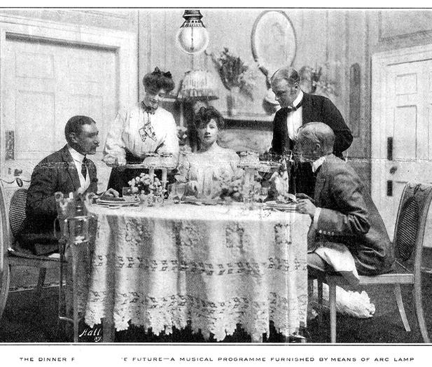 未来的音乐。1907年《甘特杂志》上的一张图片作品畅想了未来的电子音乐通过碳弧灯传输至个人家庭中