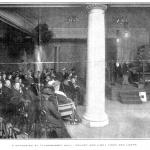 电传簧风琴音乐厅的听众正在欣赏经由碳弧灯演奏的电传簧风琴音乐会,《甘特杂志》,1907年6月