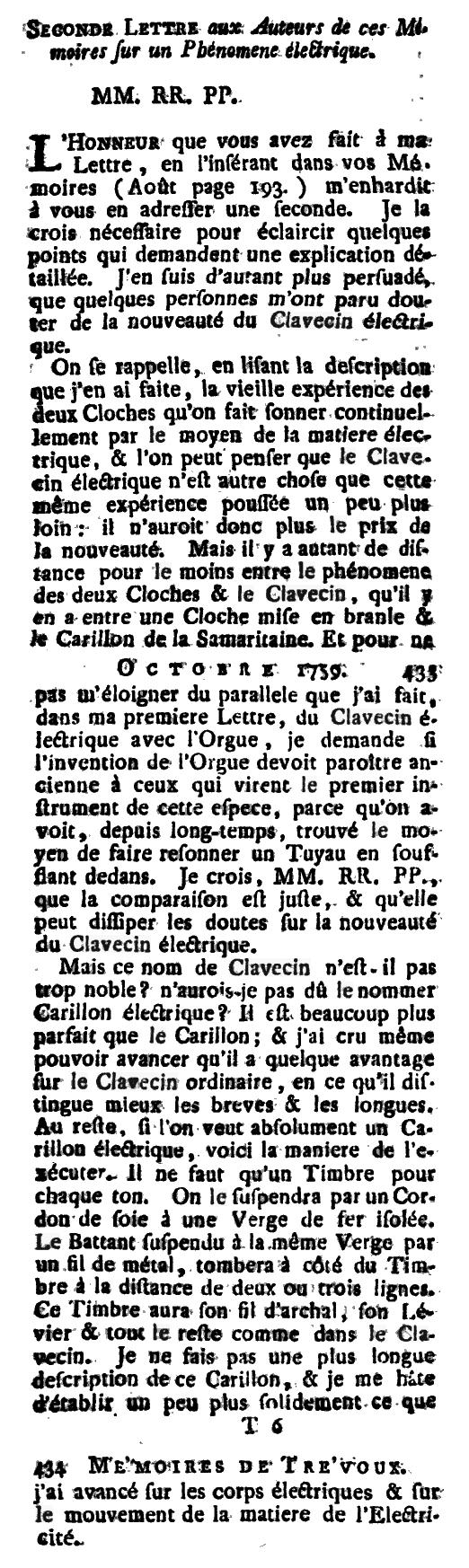 马克·米歇尔·雷(Marc Michel Rey)对于电子大键琴的描述,记录于作品Le journal des sçavans, combiné avec les mémoires de Trévoux 中,1759年
