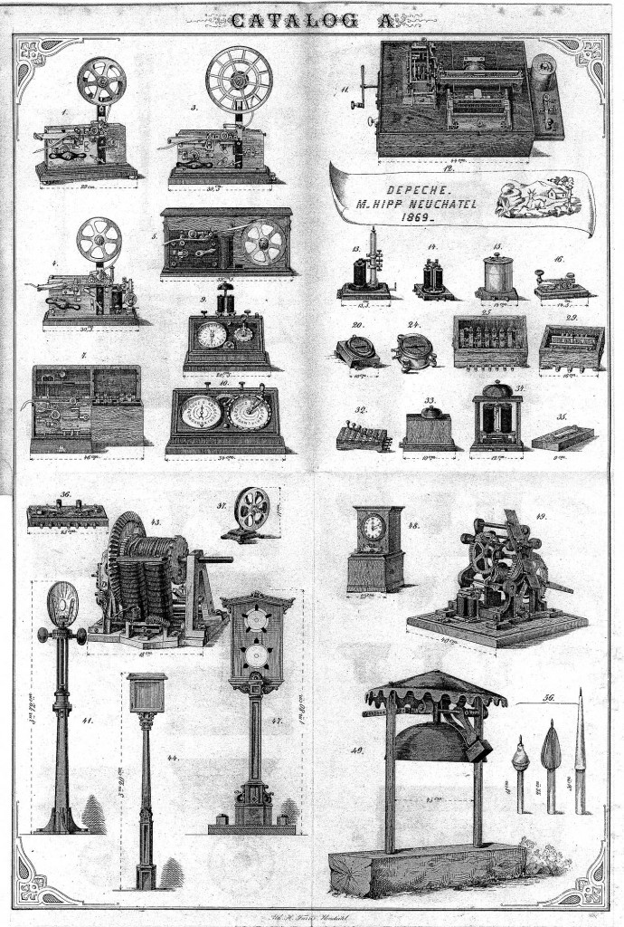 纳沙泰尔电报机厂的产品图册展示了许多希普的发明(1869),但其中并没有提到电机钢琴。