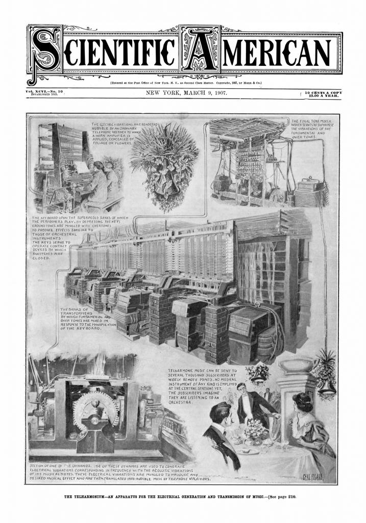 刊登于《科学美国人》(Scientific American)杂志上的电传簧风琴图片1907年3月9日刊,vol 96 #10