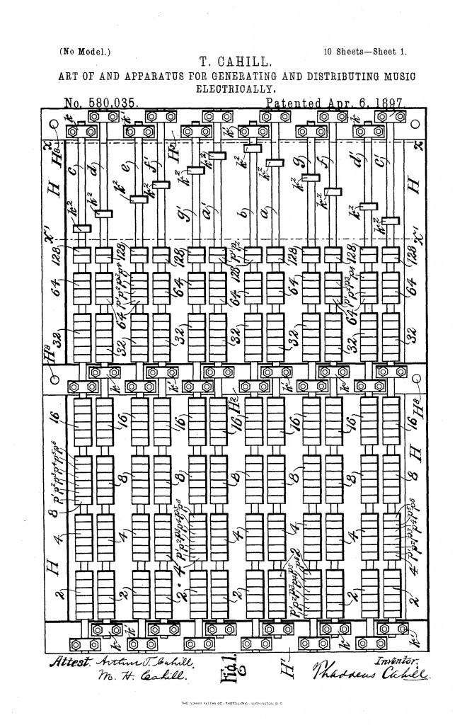 卡希尔在1897年为第一台电传簧风琴所申请的专利,展示了音轮转子轴。