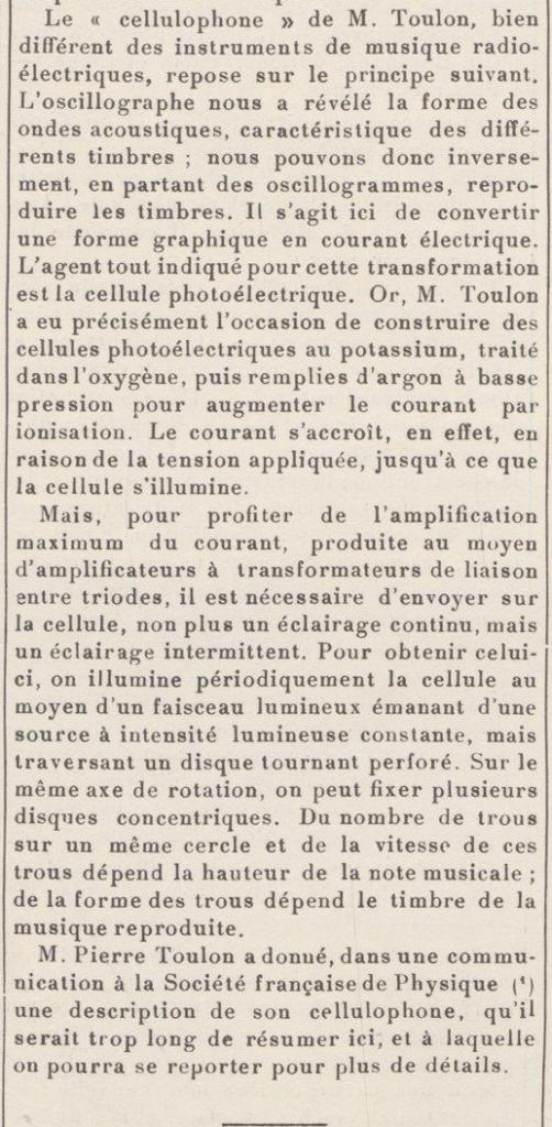 刊物《城市建设》(Le genie civil)1928年2月18号刊登的的光电琴报道