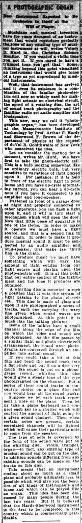 《加拿大冠军报》1930年7月3日刊文