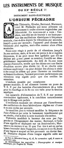 1933年《音乐人》杂志对比沙德利电子琴的报道