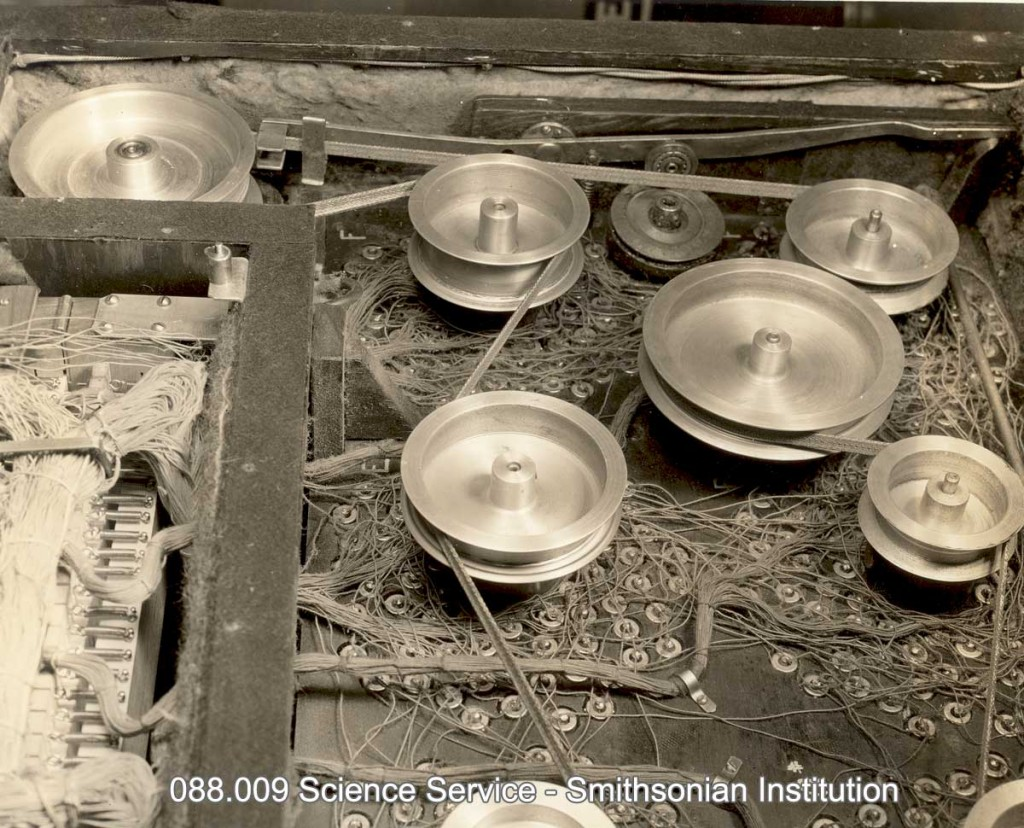 WCAU声像琴的后视图,图中展示了用于音色光盘的皮带轮驱动装置以及颤音效果装置。颤音效果通过摇臂(摇杆)实现,可改变声音的音调。