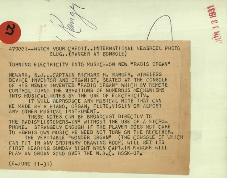 报社报道让格发明乐器的通讯电报,1931年