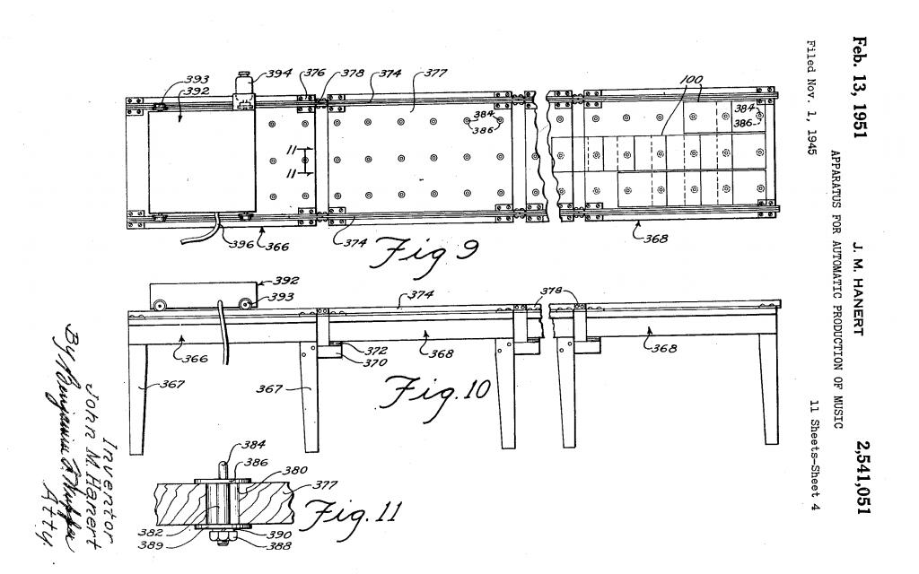 该示意图展示了自动电子乐团的记谱卡规则:X轴上记录音高,Y轴记录时值以及节奏位置。扫描探头在Y轴上运动。(来源:US Patent 2,541,051A 1945)