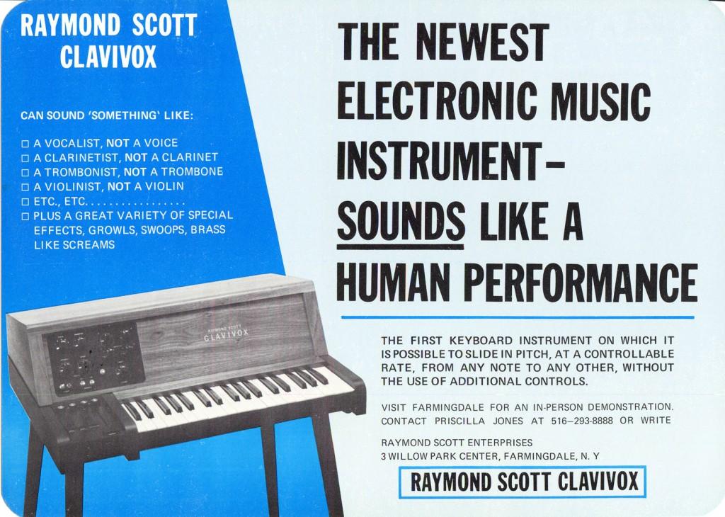 """雷蒙德·斯科特的键音琴,广告上的大字写着""""最新的电子乐器——其音色宛如人类演奏"""""""