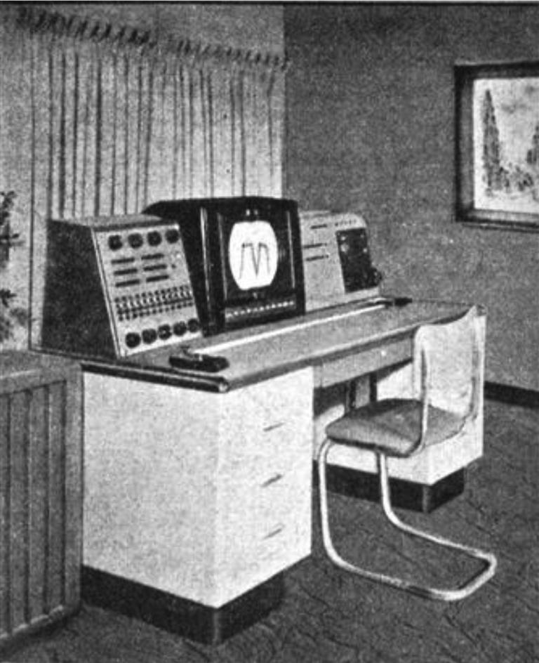 """""""这就是编曲-机在你家中的样子——它可能比一台钢琴还便宜""""。加拿大国家电影局奥斯蒙德·肯德尔发明的""""编曲-机""""(1953),正尝试作为家庭乐器进行销售。(图:《麦克林》杂志,加拿大国家杂志,1955年6月11日)"""