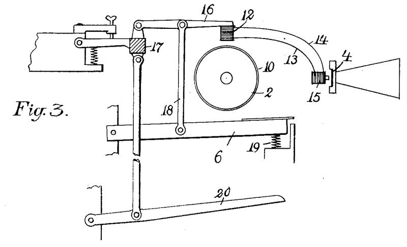 该图展示了装置控制电磁音头(Pick-up)靠近音轮这一主要动作