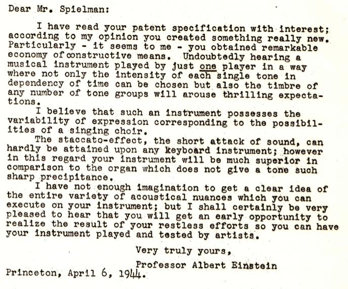 阿尔伯特·爱因斯坦(Albert Einstein)赞赏超级钢琴的信件,1944年,美国