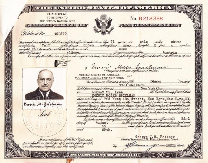 埃默里克·施皮尔曼的美国入籍证,1944年