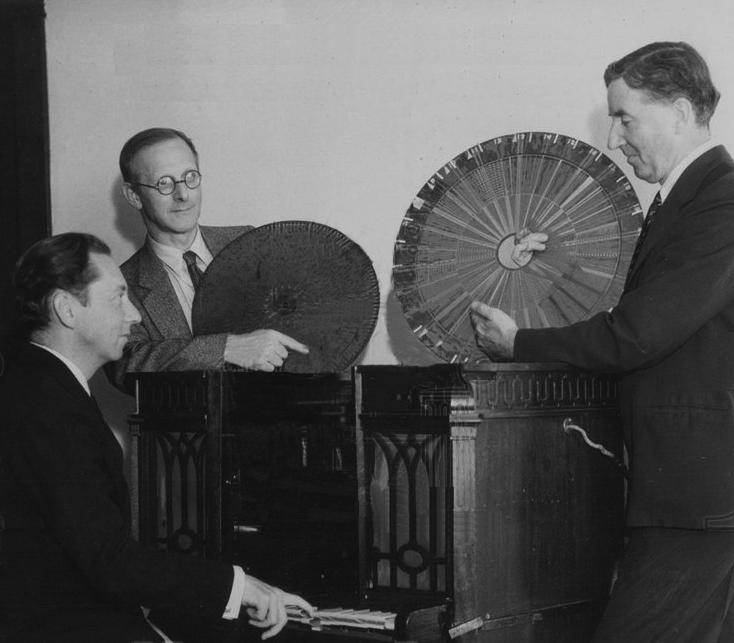 纳特浩(左)与萨米斯(右)与唱声琴的演奏者在一起,1934年