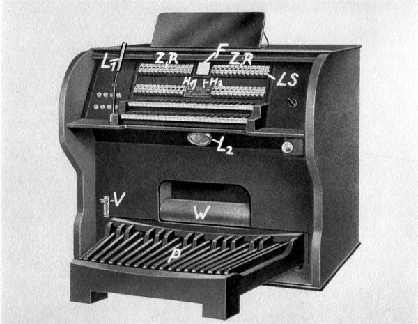 斯特兹哈默电磁音轮风琴(Stelzhammer Magneton tone wheel organ),1930年