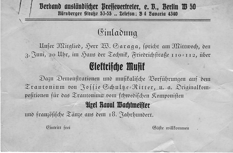 """萨拉加""""电子音乐-特劳特温琴的演示及音乐示范""""(Electric Music – a presentation and musical demonstration of the Trautonium)展示会的记者邀请函,柏林,1933年。供图/萨拉加家族"""