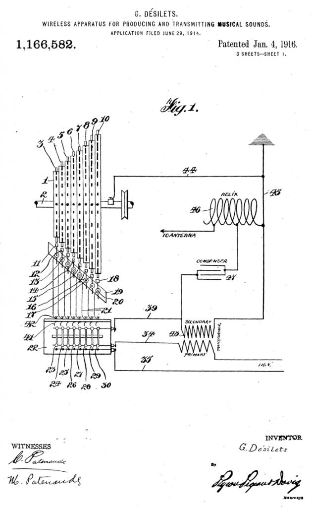 """该专利示意图展示了安装在鼓状滚筒上的""""火花钉""""连接到无线电发射器一端"""