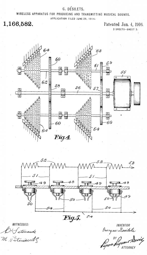 无线风琴的马达转动杆和火花隙滚筒