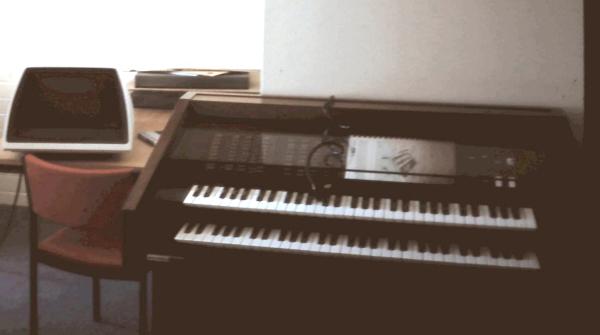 墨尔本拉筹伯大学的一台双排键版斯卡拉琴。每个琴键都可在1024种不同音高中变换。
