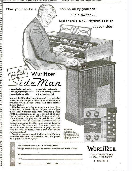 """赛德曼鼓机广告。最上方的一行广告词写的是:""""现在你自己便可成为一个乐队!一切只需打开开关……完整的鼓点节奏组便会出现在你身边!"""""""