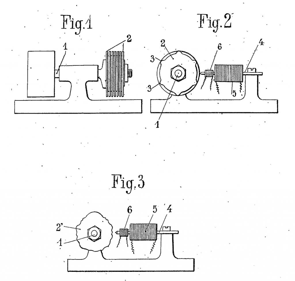 于戈尼奥一项专利中的示意图,专利内容是一种音轮制音器音源专利。1919年12月